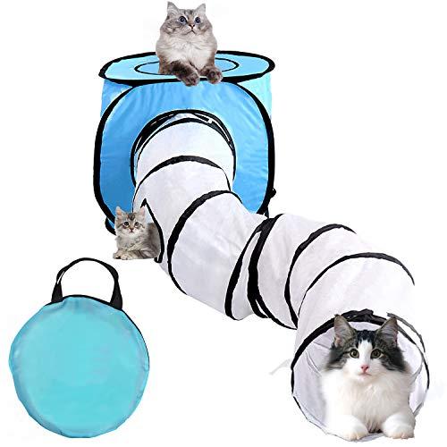 Vanplay Tunnel per Gatti Pieghevole Tende e Tunnel Pet Toy Giochi Interattivi per Gatti Gattini Cuccioli Conigli in Casa