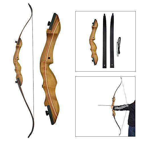 AMEYXGS Bogenschießen Recurve Bögen Set 40lbs Takedown Bogen mit Spine 500 Carbon Pfeile Bugvisier Pfeilauflage für Jagd und Schießen (Bow)