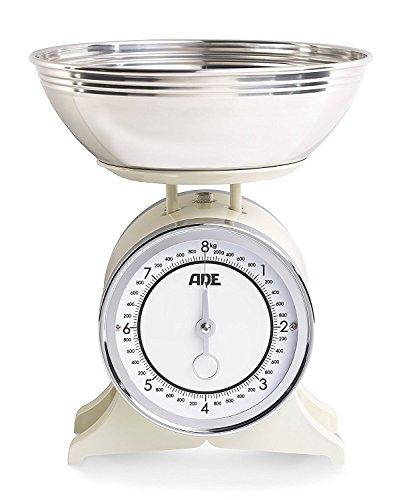 ADE Báscula de cocina Anna KM1500, capacidad 2,5lt, acero inoxidable, color crema