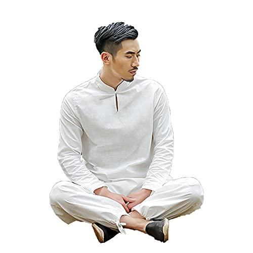 ZLZNX Hombre Trajes Artes Marciales Uniforme Tradicional Chino Tai Chi Ropa Kung Fu Manga Larga Traje Yoga AlgodóN Uniforme Artes MeditacióN Zen Marcial,Blanco,XXL