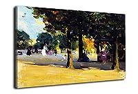 クラレンス・ガニョン《リュクサンブール公園》 油絵 名画 絵画 インテリア アートフレーム 複製絵 絵画 プレゼント-リビング、ダイニング、寝室、お風呂、オフィス、バー、(50x80cm(20x31inch)、額装)