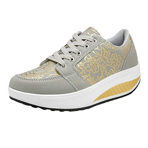 letter54 Damen Mode Sneakers lässig Laufschuhe Schnüren Atmungsaktiv Turnschuhe Sport Running Sportschuhe Platform Freizeitschuhe rutschfeste Sandalen Schuhe Elegant Stiefel Grau 38