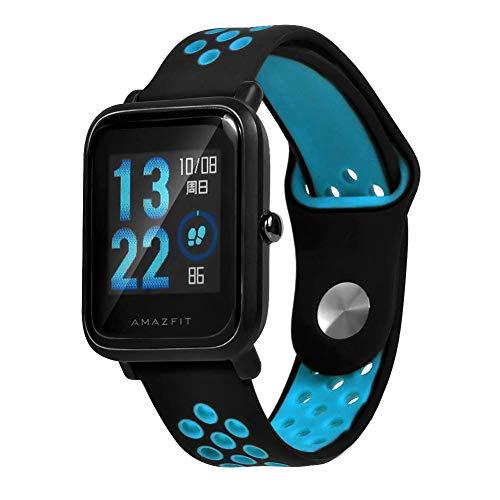 Saisiyiky Cinturino per amazfit BIP Youth–20mm Silicone Cinturino di Ricambio per Galaxy Watch, Gear S2Classic, Huawei Watch 2, Blu