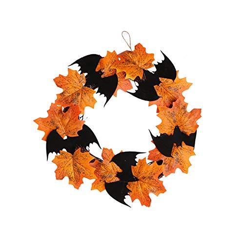 YOSEMITE Guirnalda para colgar en la pared, diseño de murciélago de Halloween, hojas de arce falsas