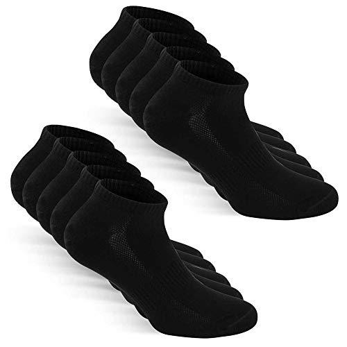 TUUHAW Sneaker Socken Herren Damen Sportsocken 10Paar Halbsocken Kurze Atmungsaktive Baumwolle Schwarz 39-42