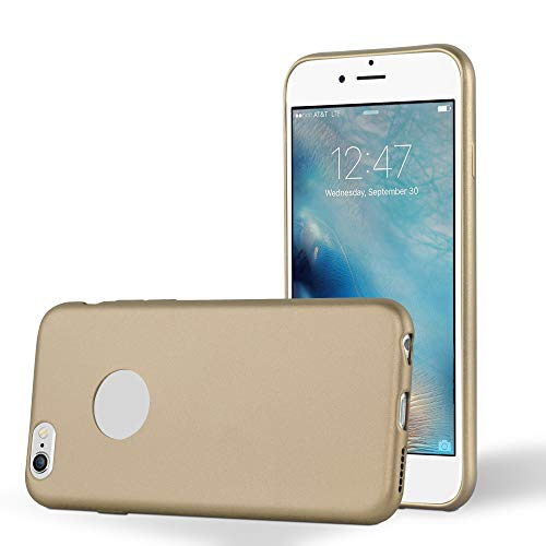 Preisvergleich Produktbild Cadorabo Hülle für Apple iPhone 6 Plus / iPhone 6S Plus - Hülle in METALLIC Gold Handyhülle aus TPU Silikon im Matt Metallic Design - Silikonhülle Schutzhülle Ultra Slim Soft Back Cover Case Bumper