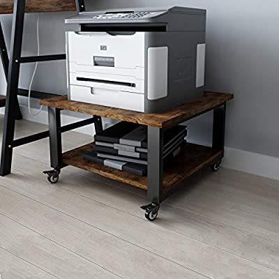 Natwind Under Desk Printer Stand with Wheels 2-Tier Movable Printer Cart Multi-Functional Storage Shelf for Scanner Fax Office Supplies Industrial Heavy Duty Storage Rack Rustic Brown