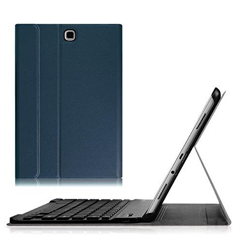 Fintie Bluetooth Tastatur Hülle für Samsung Galaxy Tab A 9.7 T550N / T555N (9,7 Zoll) Tablet - Ultradünn Schutzhülle mit magnetisch Abnehmbarer drahtloser Deutscher Bluetooth Tastatur, Marineblau