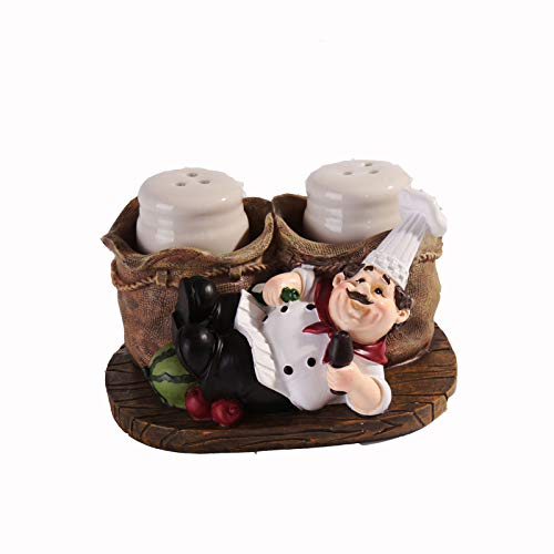 Huachaoxiang Salt Spire Cute Cook Statue, Statue Pepper Bottle Holder for Home Kitchen Decoration Salt and Spreader Mini Matted Cute Chef,4