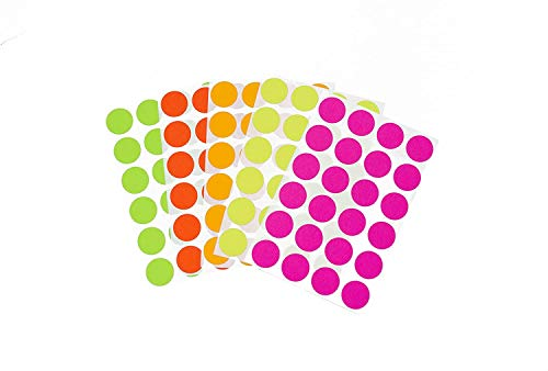 """Canopy Street 3/4"""" Assorted Fluorescent Colors Kit (5 Colors) of Color-Coding Sticker Dots, Permanent Adhesive - 1,200 Dots/Pack"""