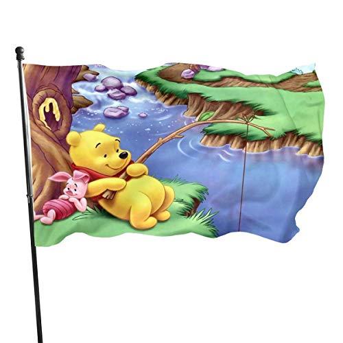 BHGYT Winnie Pooh Bärenfahne Große Flaggen mit Ösen Außendruckfahnen Qualität 3x5 Fuß Polyester Outdoor Flagge Dekor Outdoor 3 x 5 Gartenflagge