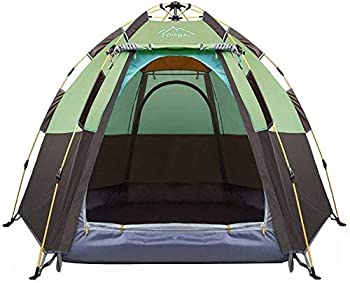 Toogh 3-4 Person Camping Tent 60 Seconds Set Up Tent Waterproof Pop Up Hexagon Outdoor Sports Tent Camping Sun Shelters Instant Cabin Tent Advanced Venting Design Provide Top Rainfly 2021 Update