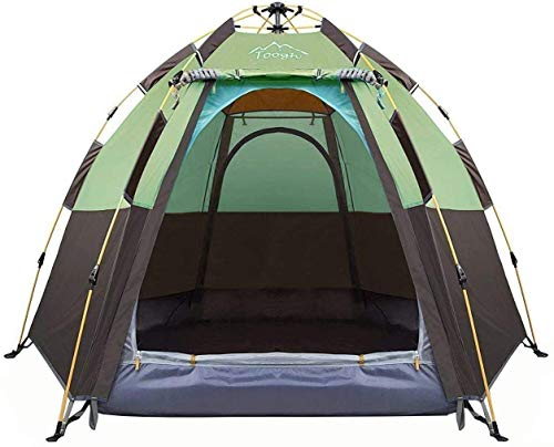 Toogh 3-4 Person Camping Tent 60 Seconds Set Up Tent Waterproof Pop Up Hexagon Outdoor Sports Tent...
