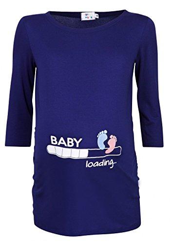 Happy Mama Donna Magliette Premaman T-Shirt Divertente Piedi Neonato Stampa 549p (Marina, IT 44/46, L)