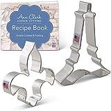 Ann Clark Cookie Cutters 2-Piece Vive La France Cookie Cutter Set with Recipe Booklet, Eiffel Tower and Fleur de Lis