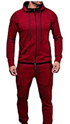 chenshijiu Mens Autumn Winter Solid Sweatshirt Top Pants Sets Sports Suit Tracksuit