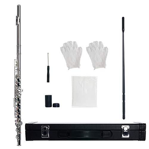 Western Concert Flauta C Key 16 Agujeros Flauta Níquel plateado Instrumento de viento de madera Color Plata Musical Intrumento Flauta