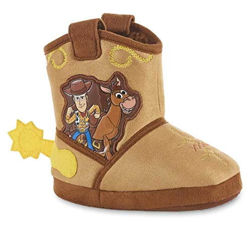 Toddler Boys Toy Story Woody Bullseye Plush Boot Slippers (13-1 Toddler/Youth) Brown
