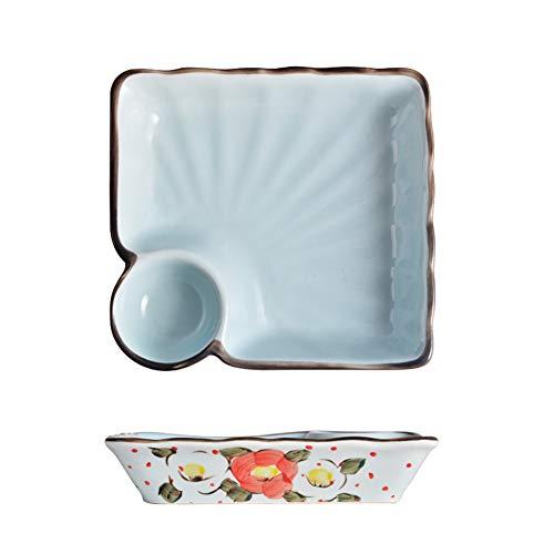 Vierkante keramische plaat, Dumpling Service Plate, Snack Fruit Plate, Kookplaat Keukengerei 7.3 Inches (1 stuk) A