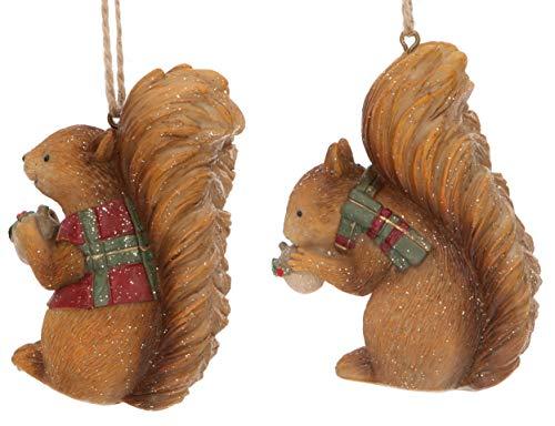 Gisela Graham - Set di 2 decorazioni natalizie in resina, 8 cm, scoiattolo con sciarpa scozzese