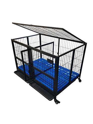 """Folding 43"""" Double Door Removable Divider Black, Open Top Heavy Duty Dog Pet Cage Kennel w/Trays, Floor Grid, Blue Plastic Floor Grid and Casters"""