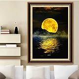 JHGJHK Pintura de Paisaje de Arte La Luna Amarilla en la Playa Montañas y ríos Decoración de habitación Familiar Pintura al óleo