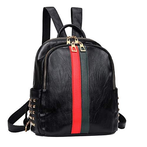 Mynos Mini Cute Backpack Purse, Girls PU Leather Teenager School Satchel Double Zippers Bookbag Ladies Rucksack Travel Shoulder Bag (PU Black small)