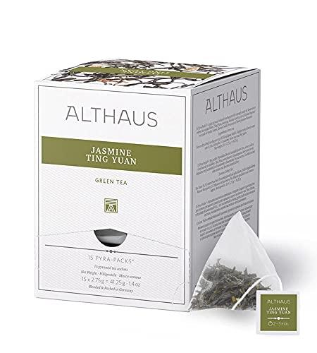 Althaus Tee JASMINE TING YUAN (vorher JASMINE DELUXE) ⋅ Grüner Tee im Pyramidenbeutel PYRA PACK ⋅ Grüner Jasmintee ⋅ 15 x 2,75g