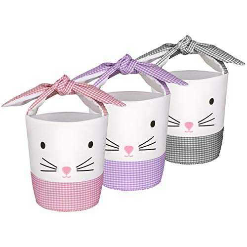 BOMMETER DIY Embroidered Canvas Easter Egg Hunt Basket Bags for Kids Bunny CanvasToys Bucket Tote – Cotton Carrying Gift…