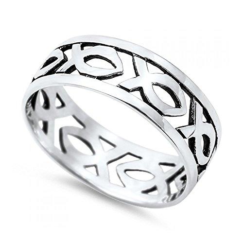 Royal Design Ring aus Sterlingsilber - christlicher Fisch