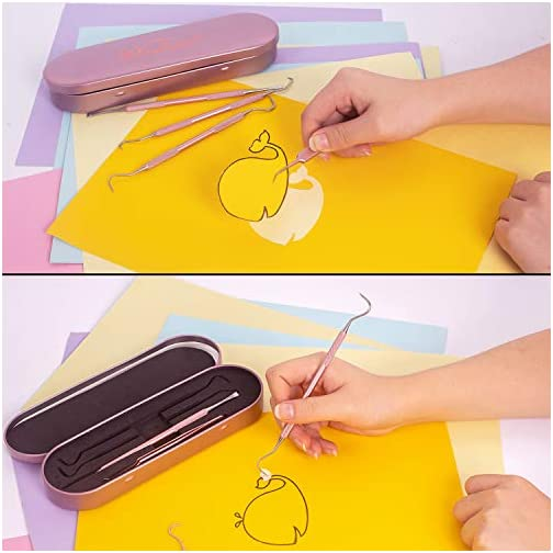 Whaline Weeding Vinyl Tools 4 Pieces Stainless Steel Precision with Case, Vinyl Craft Paper Craft Tool Kit for… |