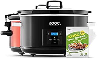 KOOC 8.5-Quart Programmable Slow Cooker, Larger than 8 Quart, More Practical than 10 Quart, with Digital Countdown Timer, Free Liners Included for Easy Clean-up, Upgraded Ceramic pot, Adjustable Temp, Nutrient Loss Reduction, Black, Oval…