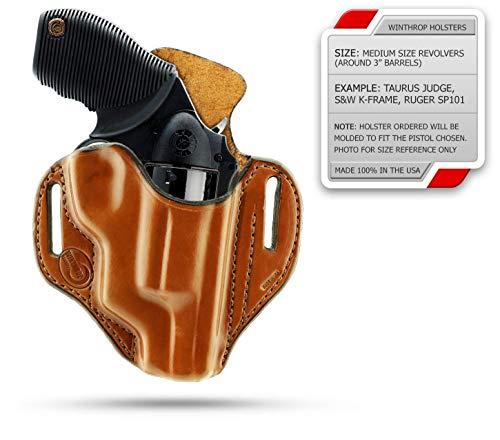0239 - Poly Frame Taurus Judge Public Defender OWB Shield Holster R/H Brown