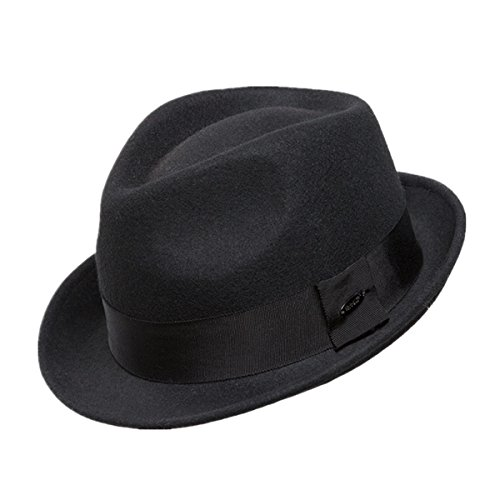 Home Prefer Men's Wool Felt Winter Hat Short Brim Fedora Hat Black Medium