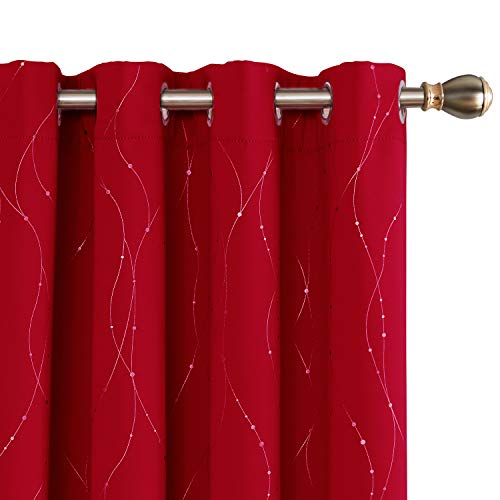 Deconovo Red Blackout Curtains and Drapes Wave Line with Dots Printed Window Treatment Sets Curtains for Bedroom 52 x 84 Inch Red 2 Panels