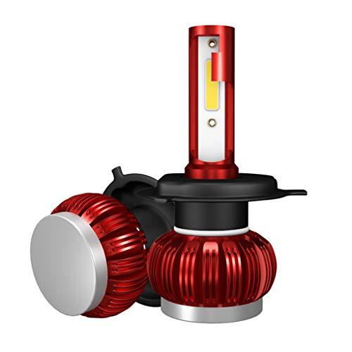 balikha 2x Kit de Conversión de Lámparas de Faros LED Rojos K1 3600LM Bombillas de Haz HI-LO 6000K - H4 HB2 9003