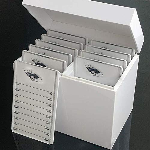 Boîte de rangement 10 cils en cristal pour cils, greffe de cils Boîte de présentation compacte, boîte de rangement pour cils en acrylique blanc, organisateur de maquillage,support palette False Lashes