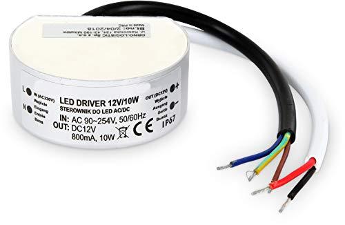 Preisvergleich Produktbild LED Aluminium Transformator IP67 10W rund - für Schalterdose 68mm - 230V zu 12V