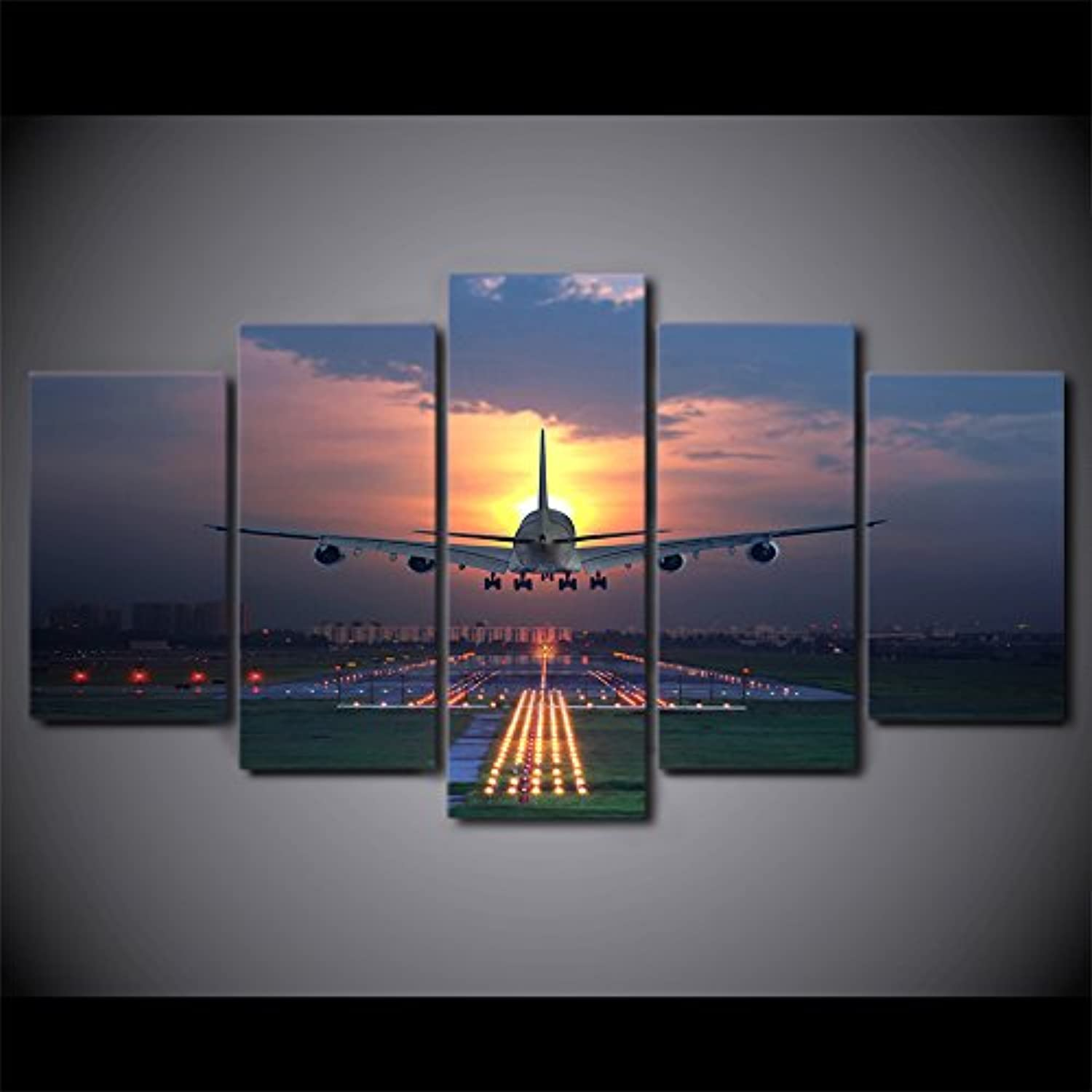 W15Y8 Painting Living Room Wall Art 5 Panel Sunset Lights Airplane Lawn Poster Canvas Modular Print Decoration 40X60 40X80 40X100Cm No Frame