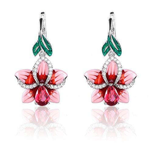 Ruby569y Pendientes colgantes para mujeres y niñas, pendientes de moda con forma de hoja de esmalte y flor con incrustaciones de diamantes de imitación
