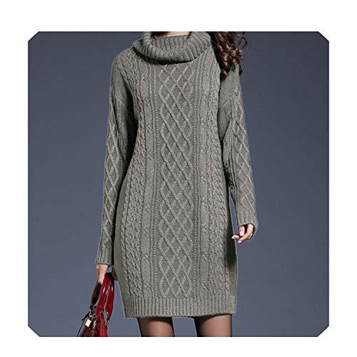 Herfst Winter Plus Size Sweater Jurk Vrouwen Effen Lange Mouw Twist Casual Oversized Coltrui Gebreide Jurk