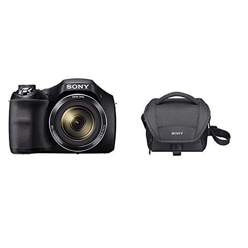 Sony DSC-H300 Digitalkamera Einstiegsbridge (20,1 MP, optischer 35fach Zoom, 25mm Weitwinkel-Objektiv) schwarz & LCS-U11B Universal-Kameratasche für Camcorder und NEX schwarz