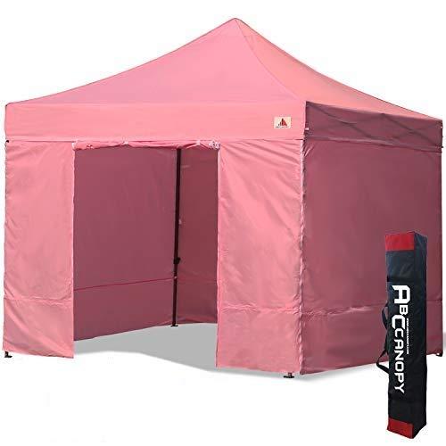 ABCCANOPY Cenador plegable de 3 x 3 cm, para tiendas de campaña comerciales, con 4 paredes laterales extraíbles y bolsa de transporte. (3 x 3 cm), color rosa