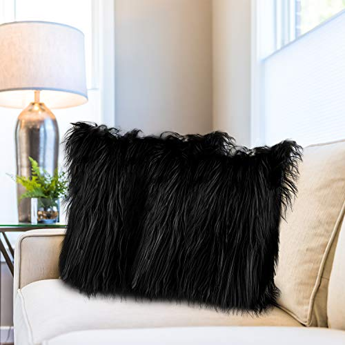 Aneco 2 Pack 18 x 18 Inches Fuzzy Cushion Cover Faux Fur Throw Pillow Covers Fluffy Pillow Covers Decorative Cushion Covers for Home Decor, Black