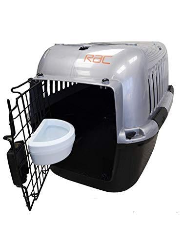 RAC Transportbox für Haustiere, Kunststoff, mittelgroß, Schwarz/silberfarben
