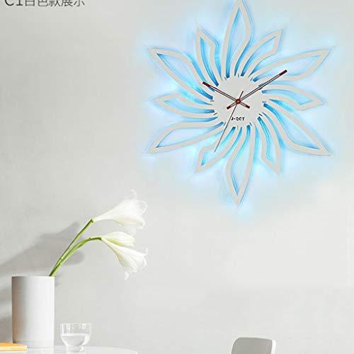 Back To My Hut Weinlese-Uhr-Europäische Handgemachte LED-Helle Metallbelichtete Wanduhr, Dynamische Geräuschlose Stumme Wanduhr/Küche-Wohnzimmer-Ausgangsdekoration,White,XL