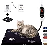 Pet Heating Pad Indoor, Dog Heating Pad Mat with Removable Cover, with 5-Level Timer 5-Level Temperature, Electric Pet Warming Mat for Cat Dog Automatic Power-Off (Black, 18' X 18')