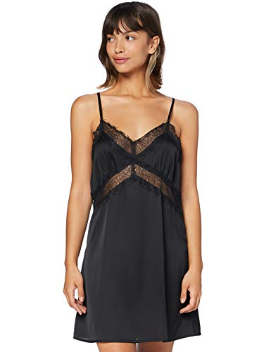 Iris & Lilly Damen Satin-Negligé, Schwarz (Black), L, Label: L