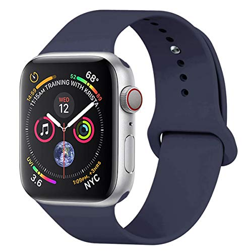 YC YANCH Compatible with for Apple Watch Band 38mm 40mm, Soft Silicone Sport Band Replacement Wrist Strap Compatible with for iWatch Series 5/4/3/2/1, Nike+, Sport, Edition, M/L, Midnight Blue