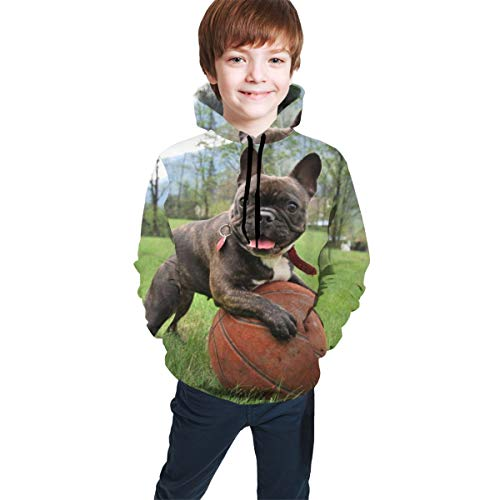 YongColer Boys Girls 3D Print Casual Pullover Hoodies Hooded Sweatshirts Tops Blouse with Pocket Age 7-20(Basketball French Bulldog, L)